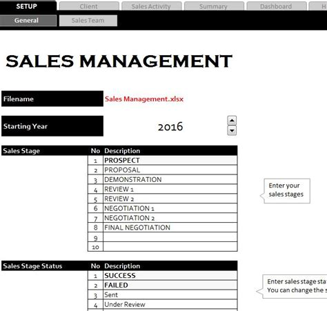 sales management sheet