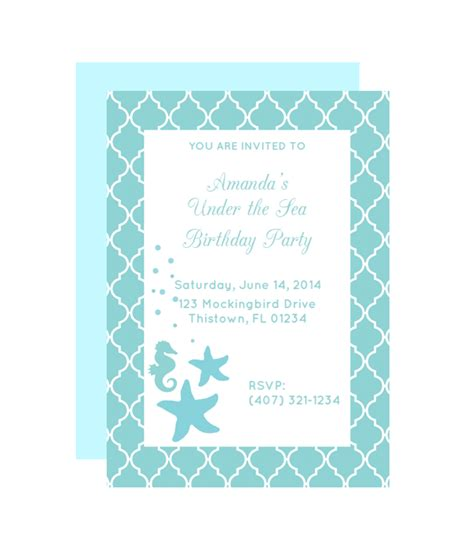 Free Printable Birthday Invitations Under The Sea | free printable under the sea party invitation from