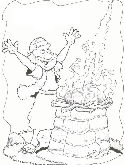 Elijah And The Prophets Of Baal Coloring Page from heaven comes on elijah s altar i 18