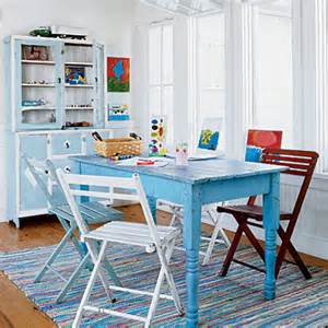 Coastal Kitchen Table And Chairs Blue Table Multicolor Chairs Rug Coastal Colors White Blue Coastal Living