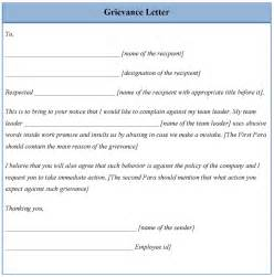 letter template for grievance example of grievance letter