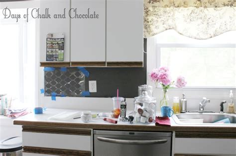 faux kitchen backsplash easy diy self adhesive faux tile backsplash days of chalk and chocolate