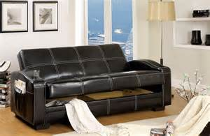 colona black leather white stitching futon sofa bed