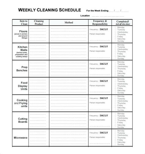 Editable Cleaning Schedule Template Cleaning Schedule Printable Weekly Monthly Yearly Clean Editable Schedule Template