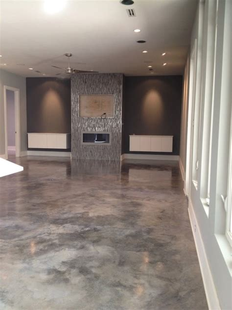 dyed concrete modern home theater new orleans by dan lynch concrete floors
