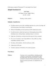 Sle Waitress Resume by Resume For A Waitress Resume Cv Cover Letter