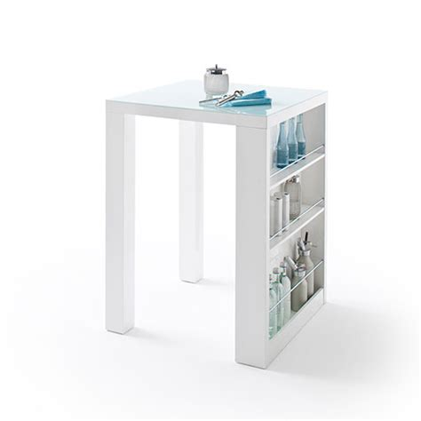 White Bar Table Club Square High Bar Table In White Gloss And Glass With