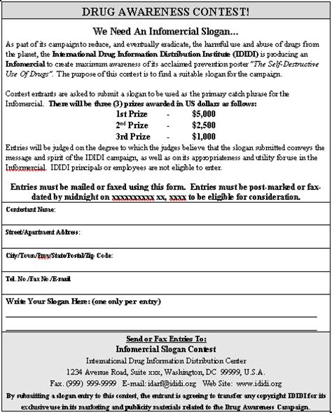 contest template contest entry form sle contest entry form template