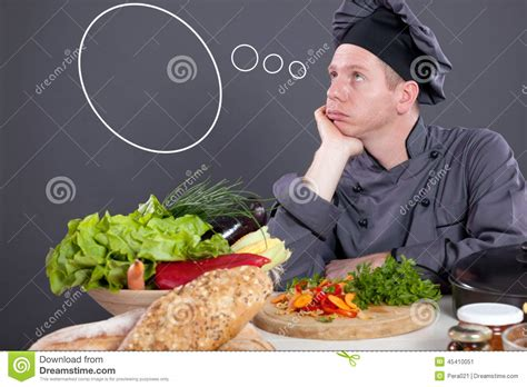 think cook cook huntiger chef with empty think clouds concept what to cook today