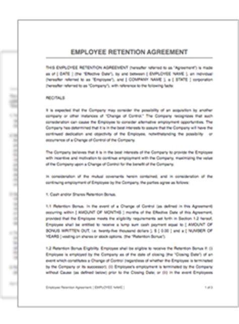 employee retention agreement template employee retention agreement restart pro