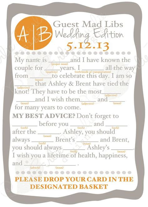 Wedding Mad Libs by Wedding Advice Reception Mad Libs Custom Designed Cards