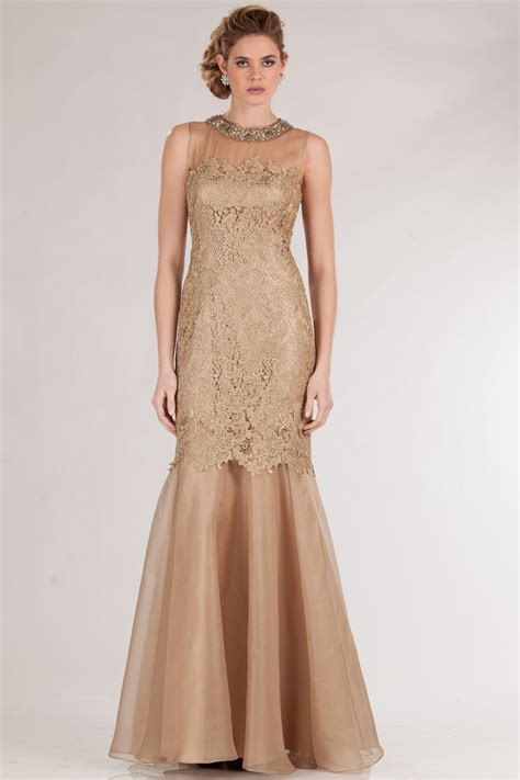 gold beaded evening gown teri jon by rickie freeman