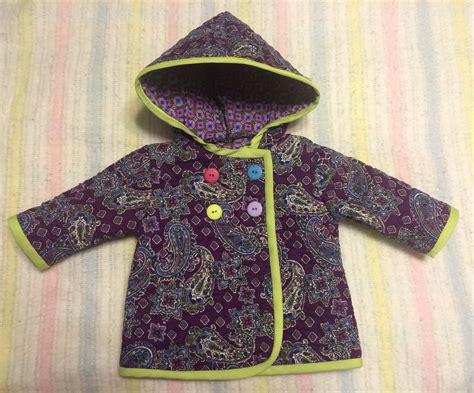 sewing pattern quilted jacket quilted purple paisley baby jacket sewing projects