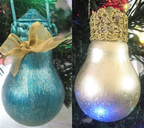 glitter christmas tree lights 30 easy diy christmas ornaments made from light bulbs
