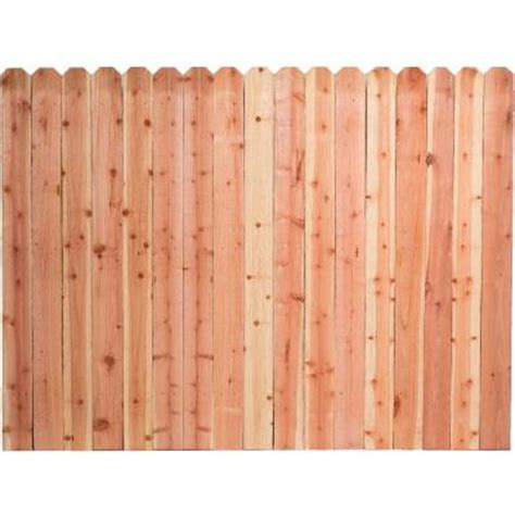 home depot fence sections 6 ft h x 8 ft w construction common redwood dog ear