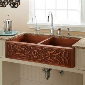 36 quot tegan 70 30 offset bowl copper farmhouse sink