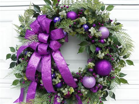 large sparkling purple christmas wreath