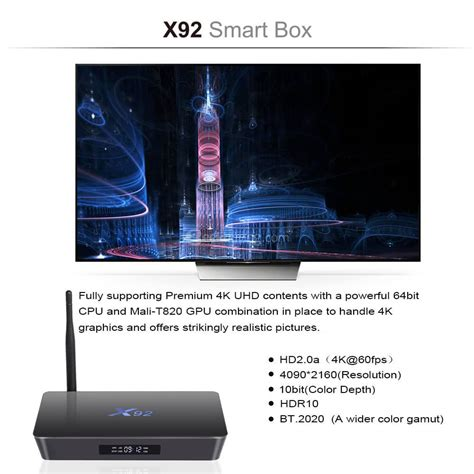 Android Tv Box X92 Os 60 Amlogic S912 Octa Ram 2gb Rom 16gb x92 amlogic s912 android 6 0 3g 16g 4k 60fps tv box