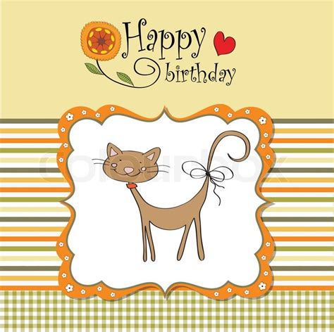 Cat Birthday Card Printable Birthday Card With Funny Cat Stock Vector Colourbox