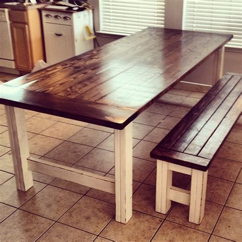 stained and distressed farmhouse table and bench do it