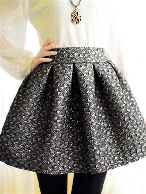 gray embossed geometric pattern high waist skater skirt