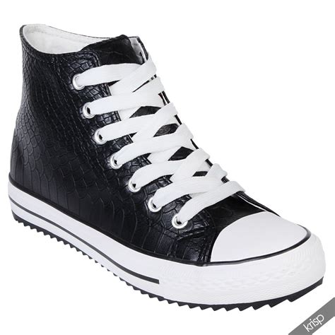 high ankle sneakers womens crocodile leather high top trainers sneakers