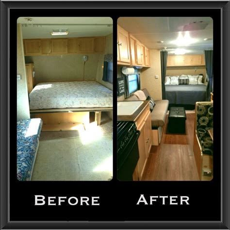 rv renovation ideas trailer remodel new flooring curtains bedding dinette