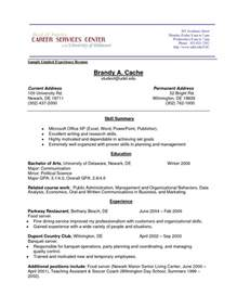 Resume Sles For No Experience by Resume Exle With No Experience