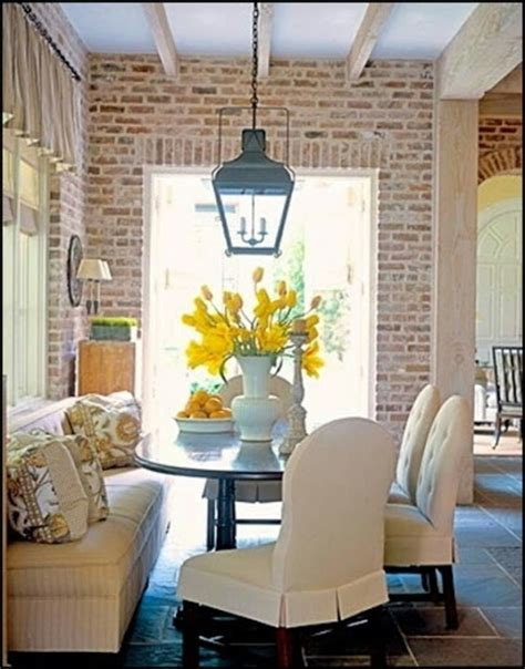 Whitewash Interior Walls by Casual Dining Exposed Brick Wall Slate Floor Lantern