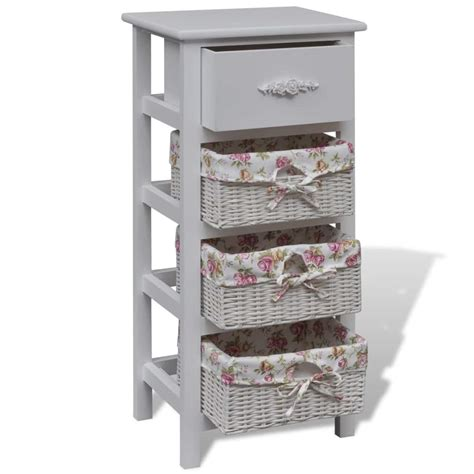 white cabinet with baskets vidaxl co uk white cabinet with 1 drawer and 3 baskets wood