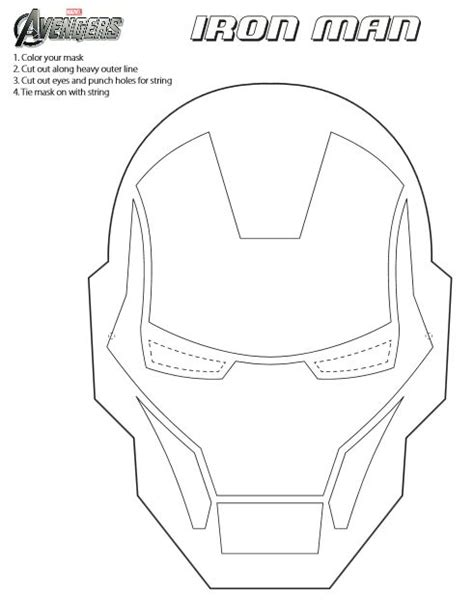 jinxy kids printable iron man mask to color