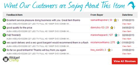 ebay feedback templates ebay reviews widget widgetchimp widgets for ebay sellers