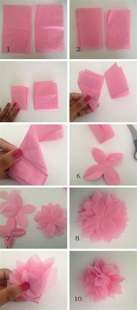 Handmade Flowers With Tissue Paper - diy tissue paper flower diy