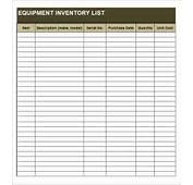 Equipment Inventory Template  10 Free Word Excel PDF Documents