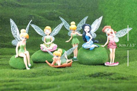 tinkerbell doll house 1 set of 6 fairies figurine terrarium miniature fairy garden tiny tinkerbell cute