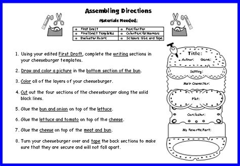 cheeseburger book report projects templates printable