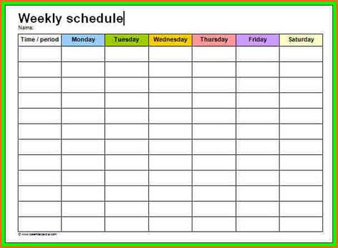 work week calendar template weekly excel schedule calendar template 2016
