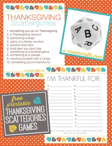 printable games about family thanksgiving scattergories printables u create