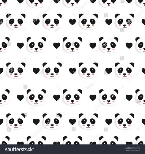 cute pattern passwords panda hearts seamless texture vector illustration stock