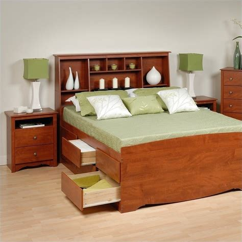 queen storage bedroom sets cherry queen wood platform storage bed 4 piece bedroom set