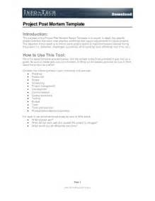 post project report template post mortem report