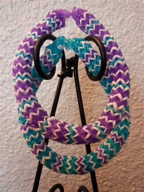 Rainbl Finger Loom Purple hexafish rainbow loom bracelets blue purple white 2 in a set bracelets by and on