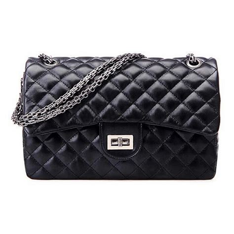 Quilted Black Purse by Quilted Chain Faux Leather Shoulder Bag Cross Handbag