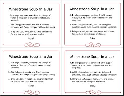 printable soup recipes holiday gifts 8 homemade gifts in a jar with free