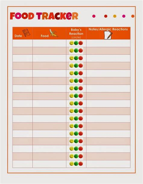 printable food journal for allergies printable food tracker for baby keep track of new foods