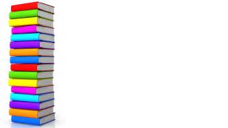 colorful books in vertical order making border stock photo