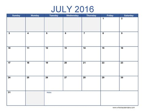 Calendar For July 2016 July 2016 Calendar Template Monthly Calendar 2016 Pdf