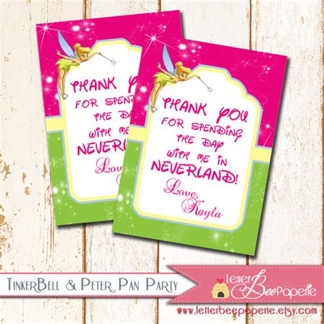 printable thank you tags for birthday favors items similar to custom tinkerbell gift tags favor tags