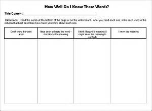 Vocabulary Chart Template by How To Select Teach Academic Vocabulary At The Secondary