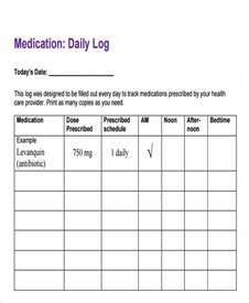 Medication Log Template by Daily Medication Log Template Sle Daily Log Template